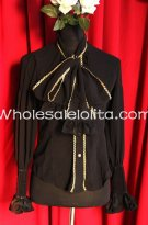 Ladies PIRATE WIND Black Chiffon Neckline Bowknot Blouse