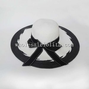New Black and White Bow Paper Straw Big Brim Hat