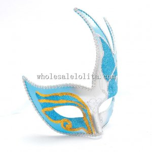 Beautiful Glitter CignoVenetian Masquerade Masks with Silver Filigree
