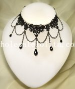 Fashion Gem Pendant Chain Black Lace Gothic Necklace for Gift