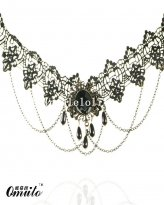 Black Charm Lace Chain Necklace Pendant with Gem for Prom