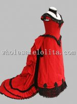1880s Red Cotton and Lace Victorian Bustle Period Dress Ball Gown