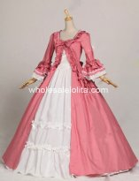 Princess Pink and White Colonial Period Dress Ball Gown Reenactment Theatre Clothing