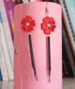 Gothic Red Flower Gem Lolita Earrings