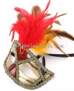 Braided Half Face Masquerade Mask with Feather for Cosplay and Parties