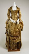 1900s Royal Earthly Yellow Victorian Bustle Period Dress Reenactment Clothing