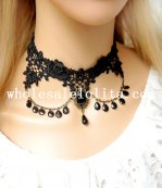 Vintage Handmade Gothic Black Lace Gem Pendant Collar Choker Necklace for Women