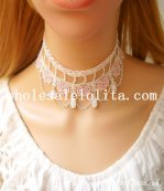 Vintage White/Pink Lace Pearl Pendant Necklace for Bride/Bridesmaid Gift