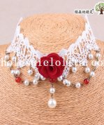 Bride's/Bridesmaid's Beautiful Royal White Lace Collar Choker Pendant Necklace with Red Rose