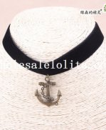Vintage Charm Black Velvet Collar Choker Hotsale Anchor Pendant Necklace