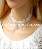 Glitter Gothic White Lace Collar Choker Pearl Pendant Necklace for Wedding Prom