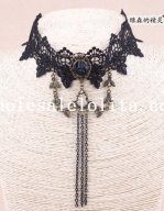 Women's Elegant Vintage Gothic Black Lace Collar Choker Pendant Chain Necklace