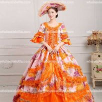 18th Century Rococo Style Marie Antoinette Inspired Prom Dress Wedding Ball Gown ORANGE