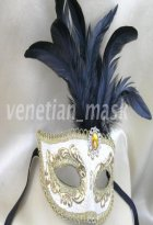 White & Black Feather Masquerade Ball Mask