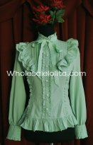 Ladies Light Green Chiffon Stand Collar Long Sleeves Ruffled Lolita Blouse