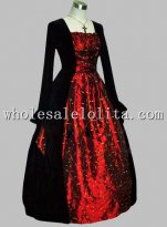 Gothic Black and Red Thai Silk Print Medieval Dress Gown Renaissance Faire Costume