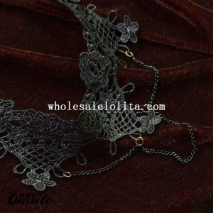 Fashion Black Lace Pendant Chain Flower Necklace for Prom