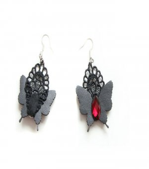 Gothic Red Gem Butterfly Lolita Earrings EH-80