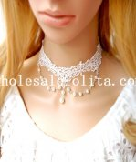 Wedding Prom Gothic Fashion Pearl Pendant Chain White Lace Necklace