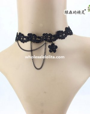Women's Gothic Black Lace Collar Choker Chain Necklace
