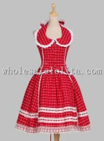 1950s Romantic Chic Halterneck Tartan Patterned Cotton Flax Dress Reenactment Stage Costume