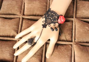 Gothic Red Rose Lace Lolita Bracelet MTB98