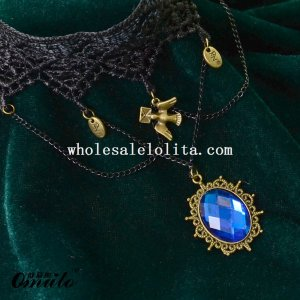 Blue Gem Pendant Gothic Vintage Black Lace Necklace