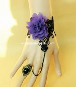 Ladies Purple Chinese Peony Black Lace Bracelet & Ring