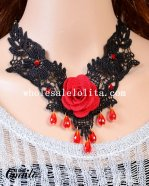 Elegant Ruby Pendant Black Lace Collar Choker Necklace with Red Rose