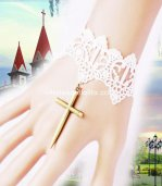 White Lace Vintage Halloween Cross Bride Bracelet