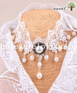 Graceful Wedding Prom White Lace Collar Choker Pearl Pendant Necklace