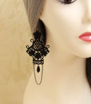 Black Lace Gothic Earrings EH-35