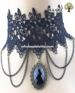 Black/Dark Blue Lace Gothic Fashion Hotsale Collar Choker Gem Pendant Necklace for Women's Gift