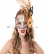 Cigno Venetian Masks with Feather for Carnival and Parties
