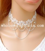 Fashion Pearl Pendant White Lace Necklace for Wedding Prom