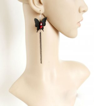 Gothic Red Gem Butterfly Lolita Earrings EH-79