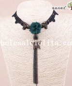 Hotsale Women's Handmade Green Flower Butterfuly Pendant Black Lace Collar Choker Necklace