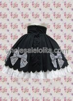 Black Multilayers Bow Cotton Lolita Skirt