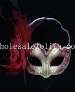 Silver Masquerade Mask with Crimson Flower and Feather for Kids