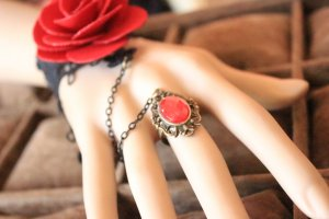 Gothic Red Rose Crystal Lace Lolita Bracelet MTB105