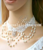 Elegant Pearl Pendant Chain White Lace Collar Choker Necklace for Wedding Prom