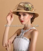 New British Style Flax & Straw Flowers Ladies Hat