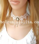 Gothic Handmade Wedding Prom Fashion Pearl Pendant White Lace Necklace