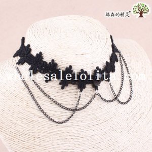 Gothic Black Lace Chain Necklace for Prom