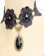 Gothic Black Diamond Lace Lolita Necklace MTN18