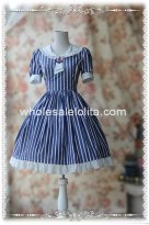 Blue and White Vertical Stripes Cotton OP Sailor Lolita Dress