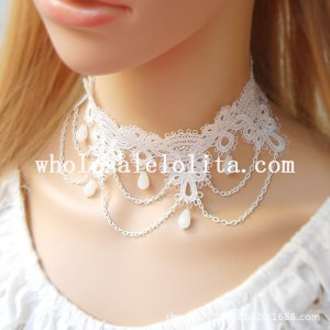 Handmade Fashion White Lace Collar Choker Pearl Pendant Necklace for Bride's Accessory