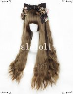Harajuku Mixed Taro Color & Brown Long Natural Curly Lolita Wig