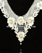 Royal Vintage White Lace Flower Pearl Pendant Lace Necklace
