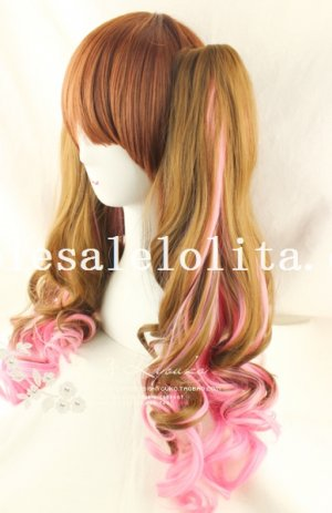 Sweet Cute Black and Red 50cm Long Curly Hair Lolita Wig 3 Colors